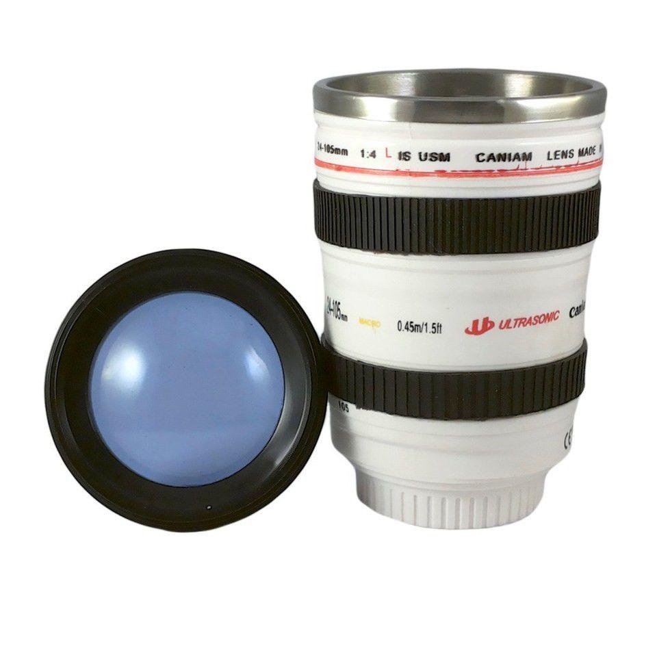 Caneca Termica Lente Canon Branca Quente Fria 350 ml - Copo De Alumínio