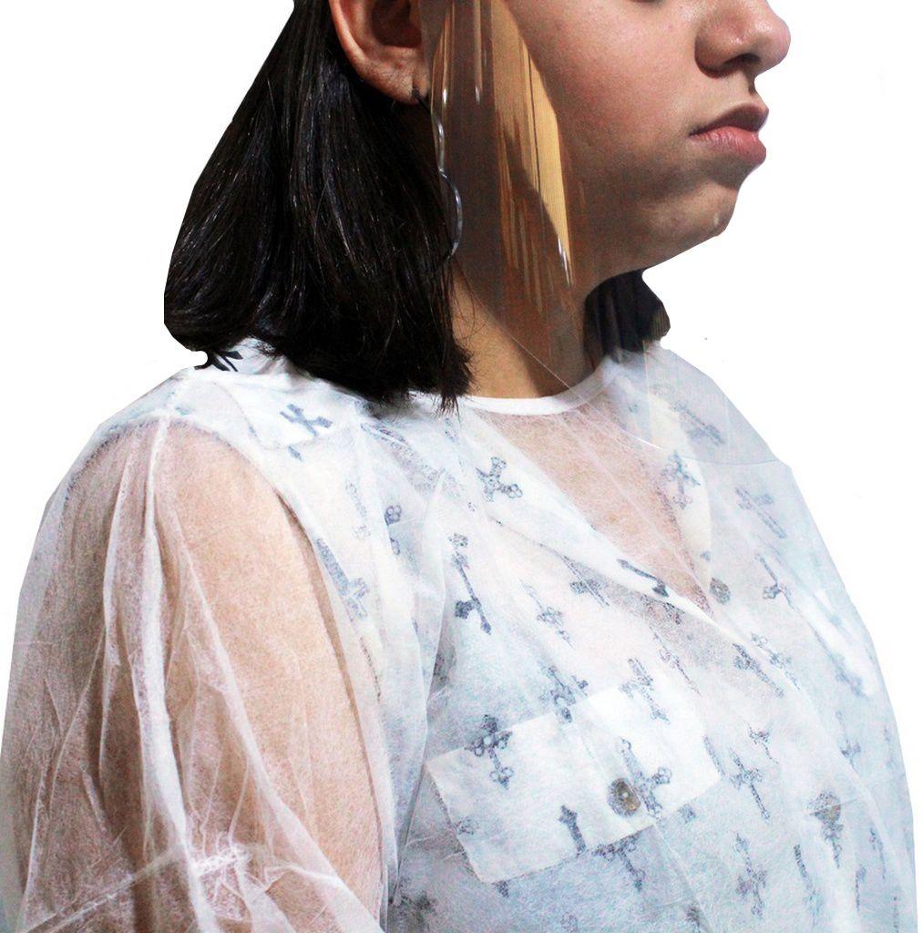 Capote Avental Descartável Transparente 10 Unidades Polipropileno Talge Manga Longa Hospitalar Higiênico Individual Protetivo Resistente Novo