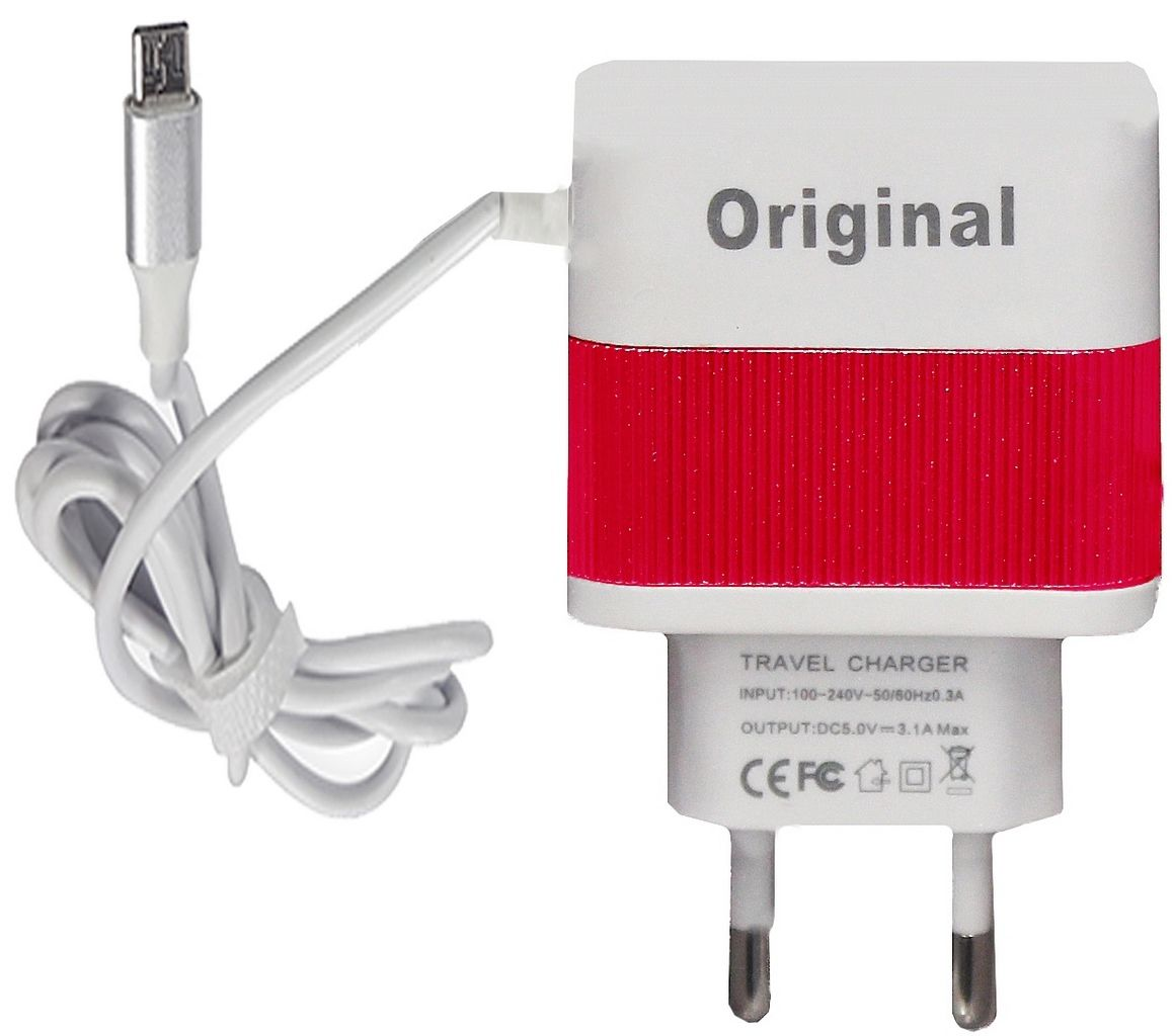 Carregador Com 3 Saídas Universal USB 4.1 Amperes Ios Android De Parede Nas Cores Rosa Preto Dourado Cinza Vermelho Marca Original De Viagem 1000mm Solma