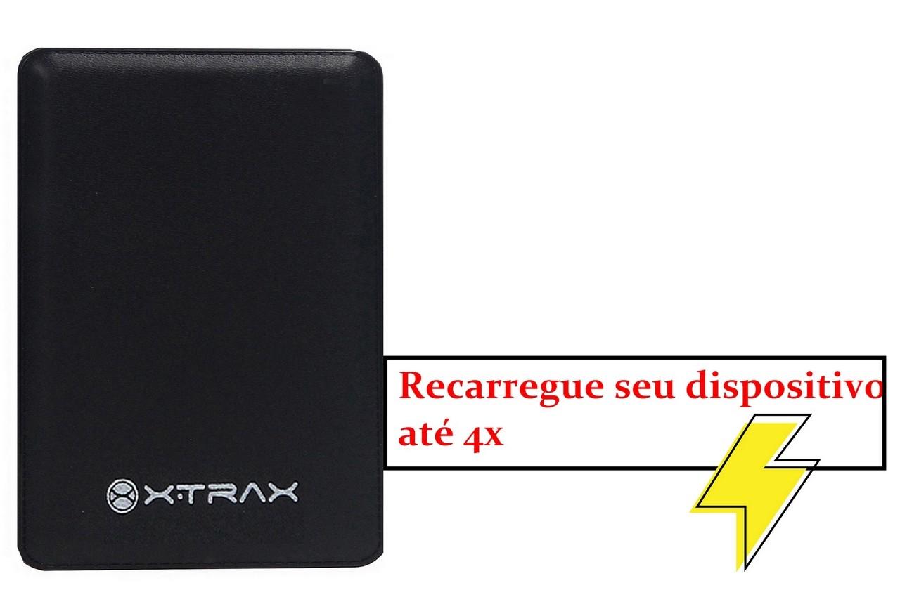 Carregador Portátil Power Bank Compacto Universal mAh Xtrax Leve Pequeno Lançamento Preto Micro USB Tipo C 4 Cargas Novo