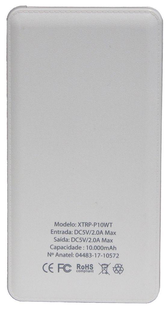 Carregador Portátil Universal 10000 mAh Para Celular 3 Conectores Usb Tipo C Apple Android Iphone Power Bank Branco Xtrax Original
