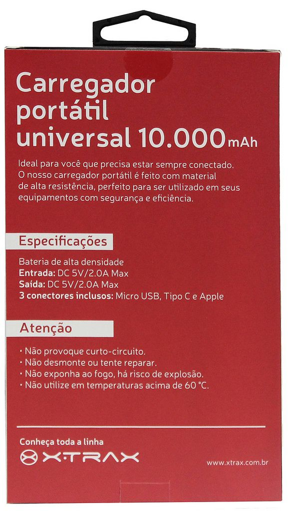 Carregador Portátil Universal 10000 mAh Para Celular 3 Conectores Usb Tipo C Apple Android Iphone Power Bank Branco Xtrax Original