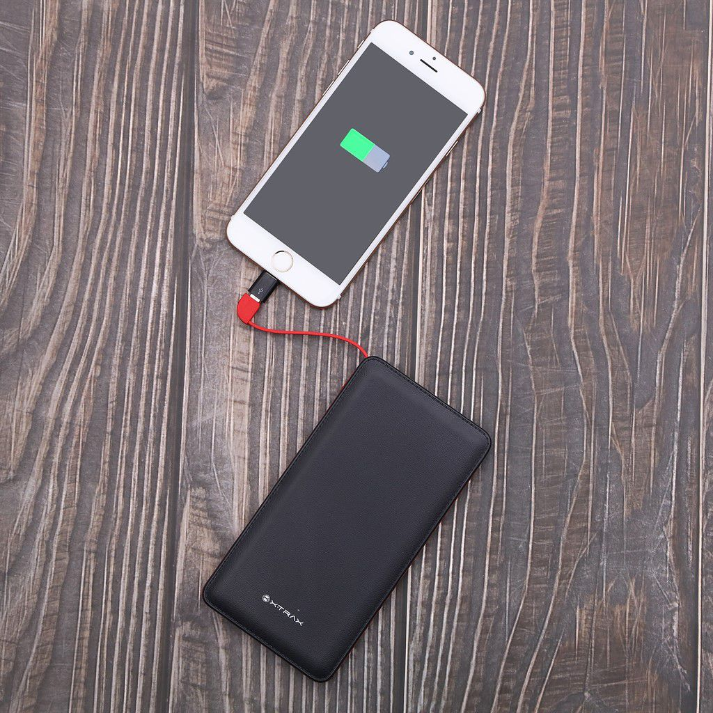 Carregador Portátil Universal 5000 mAh Para Celular Compacto 3 Conectores Usb Tipo C Apple Android Iphone Power Bank Preto Xtrax Original