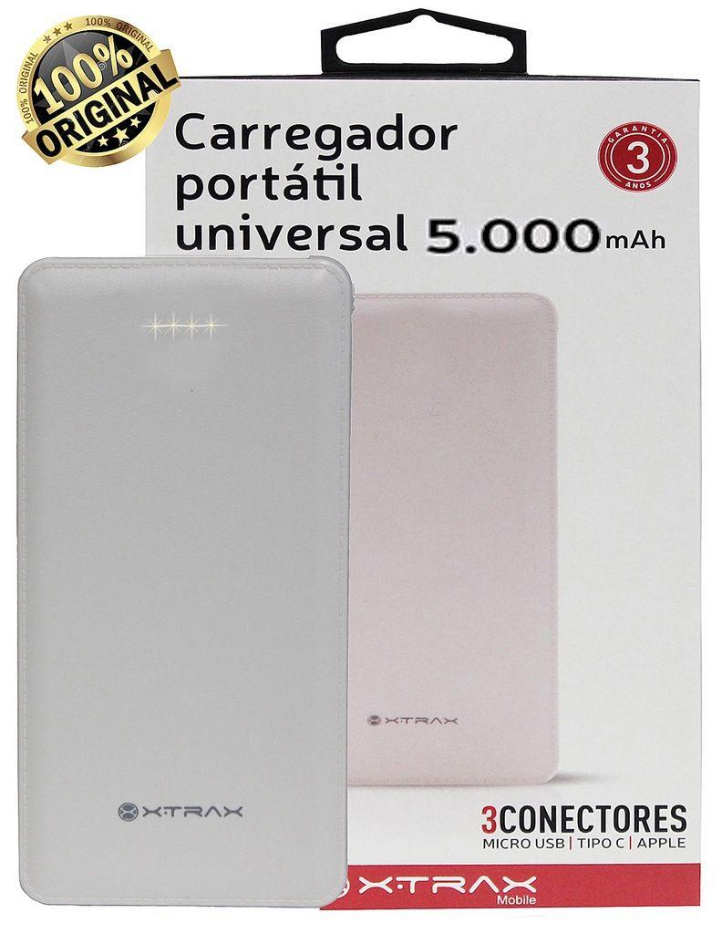 Carregador Portátil Universal 5000 mAh Para Celular Compacto 3 Conectores Usb Tipo C Apple Android Power Bank Branco Xtrax