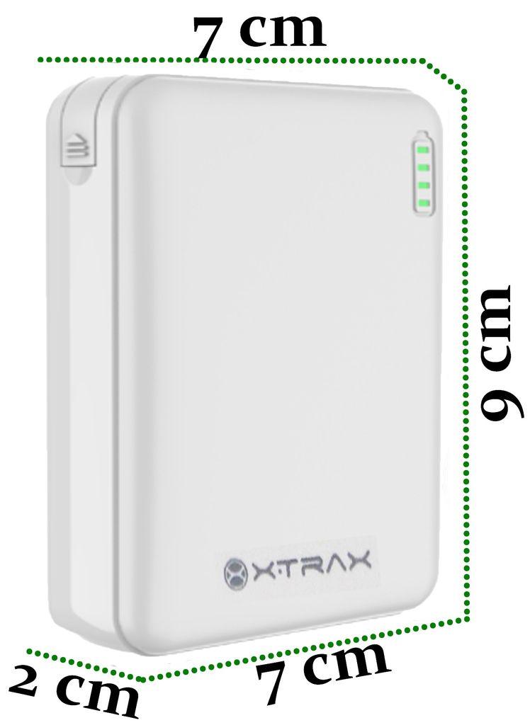 Carregador Portátil Universal 5000 mAh Para Celular Compacto 3 Conectores Usb Tipo C Android Iphone Power Bank Branco Xtrax