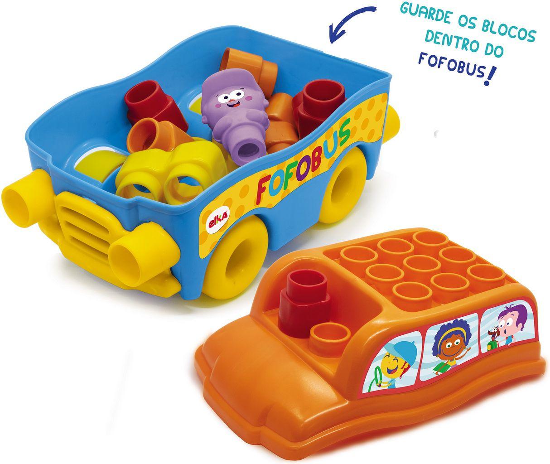 Carrinho Com Blocos De Montar Encaixar Fofo Blocos Fofobus 14 Peças Macio Bebês +1 Ano Brinquedo Infantil Menino Menina Bolhas De Sabão Elka