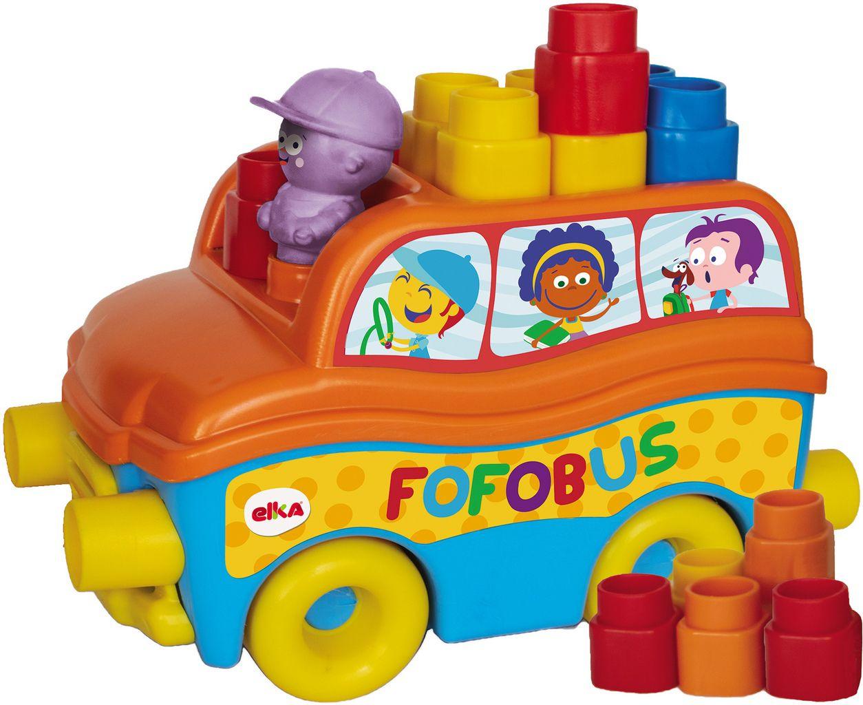 Carrinho Com Blocos De Montar Encaixar Fofo Blocos Fofobus 14 Peças Macio Bebês +1 Ano Brinquedo Infantil Menino Menina Elka