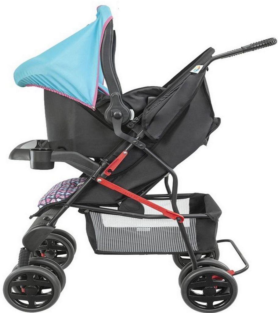 Carrinho De Bebê Rosa Menina Encaixe Bebê Conforto Thitus Tutti Baby
