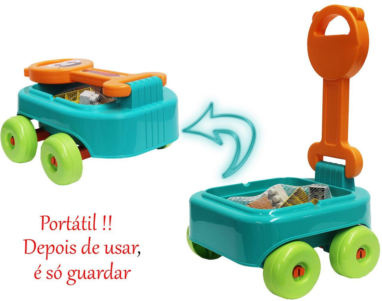Carrinho De Puxar Com Blocos De Montar Praia Cachorrinho Infantil Educativo Rodinhas Resistente Original Gulliver Activity