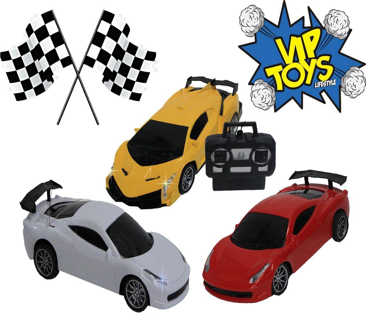 Carro De Controle Remoto Eletrônico Acende Farol Gold Racer 3 Pilhas 1,5 V AA Menino Amarelo Vermelho Branco Pequeno Resistente Original Vip Toys