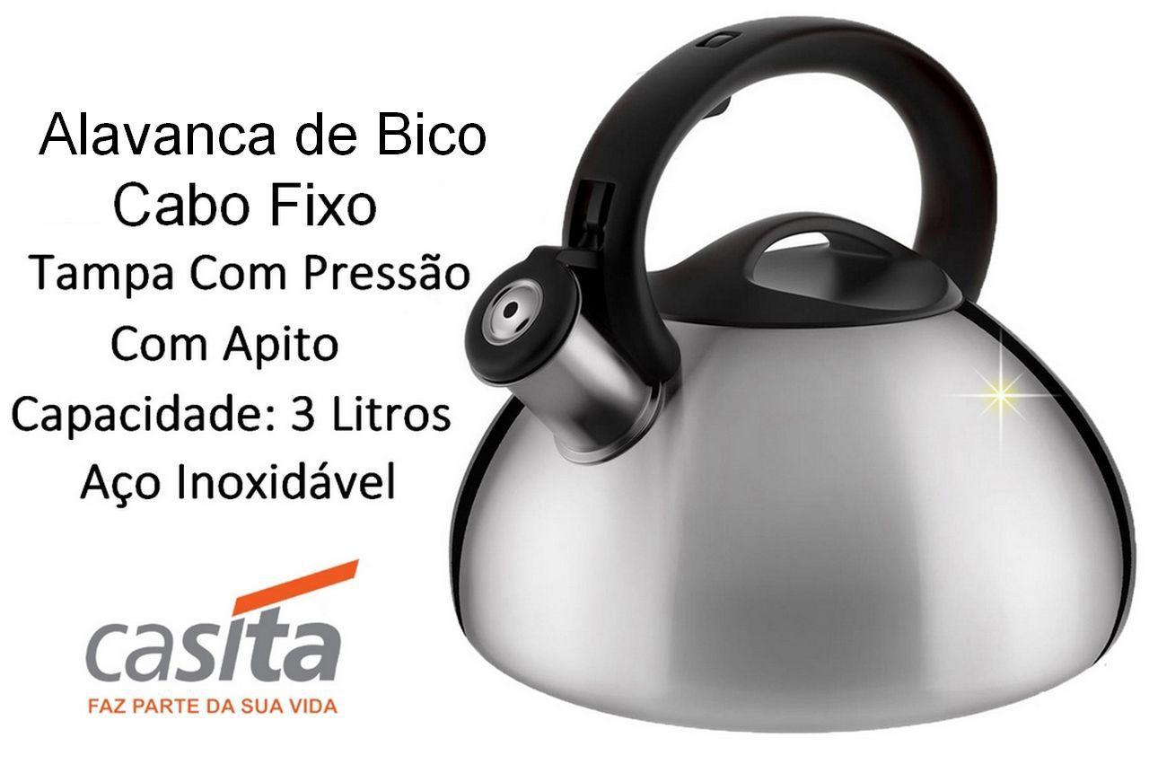 Chaleira De Inox C/ Apito 3 Litros Casita