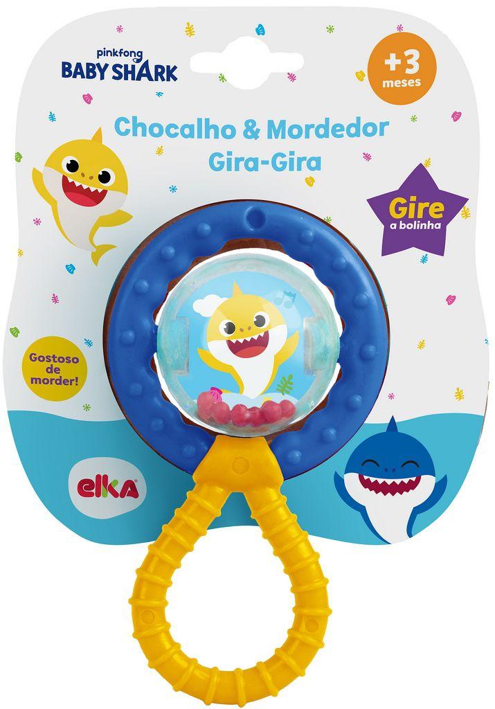 Chocalho E Mordedor Bebê Gira Gira Baby Shark Menino Menina Brinquedo Infantil Macio Estimulante Bolhas De Sabão Elka