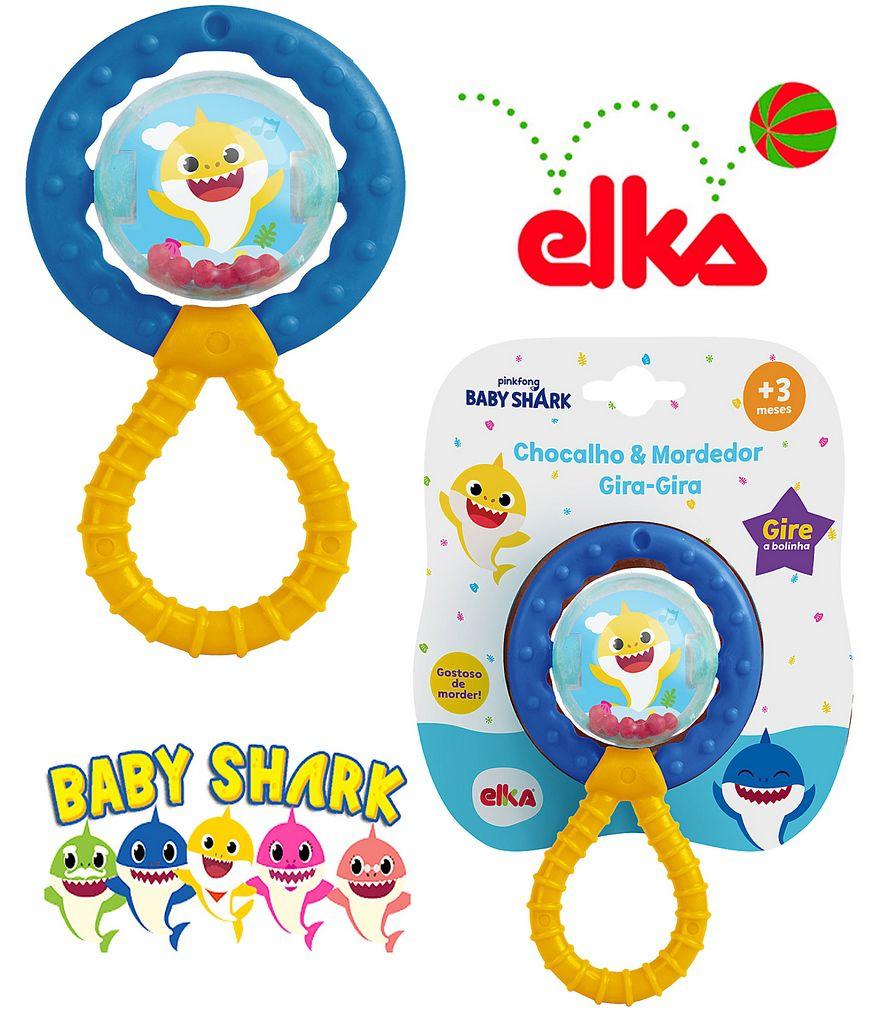 Chocalho E Mordedor Bebê Gira Gira Baby Shark Menino Menina Brinquedo Infantil Macio Estimulante Elka Original
