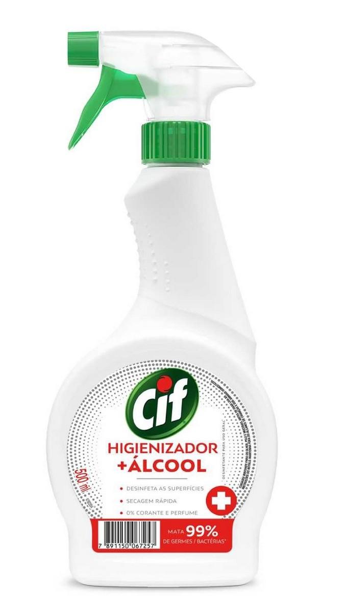 Cif Alcool Liquido Borrifador Limpador De Vidro Spray Desinfetante Higienizador 500Ml Secagem Rápida Multiuso