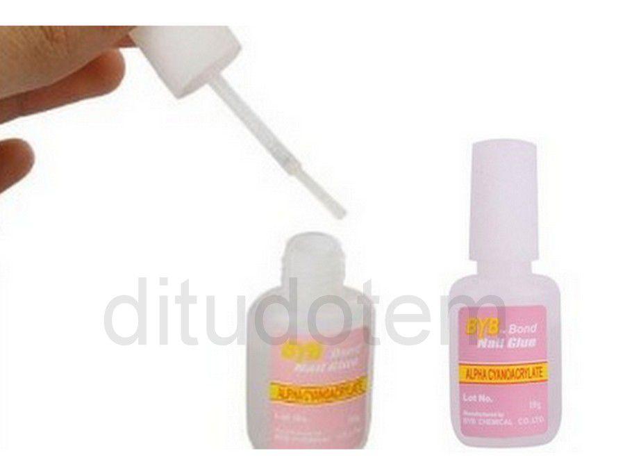 2 Colas C/ Pincel Para Unhas Tips 10g