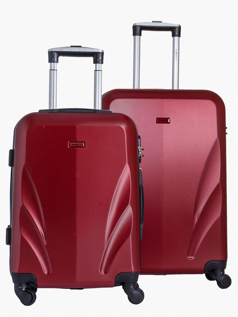 """Conjunto 2 Malas Kit 20"""" E 24"""" de Viagem Yins Rodinhas 360º  E Cadeado Senha Vermelho"""