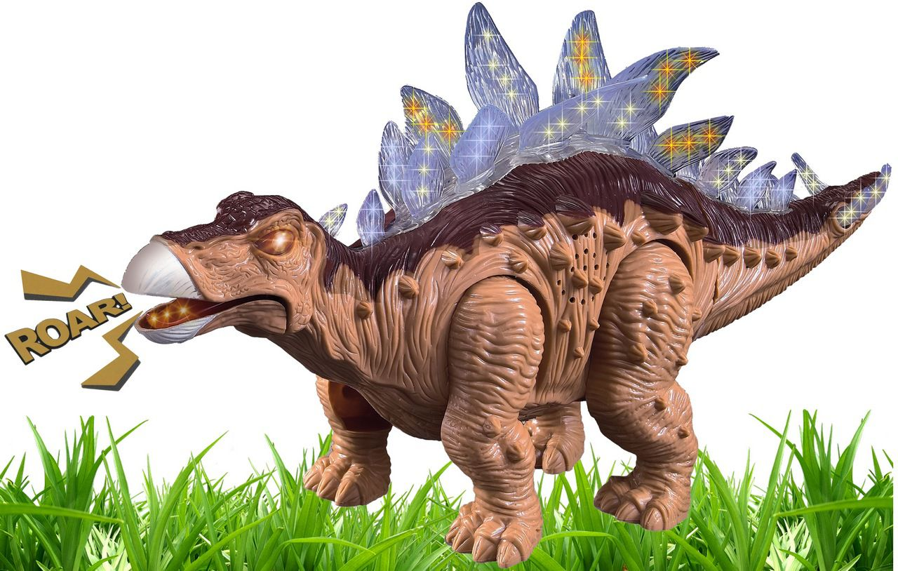 Dinossauro Estegossauro Brinquedo Infantil Menino Eletrônico Anda Luzes Som Movimentos Plástico Resistente Zoop Toys Original