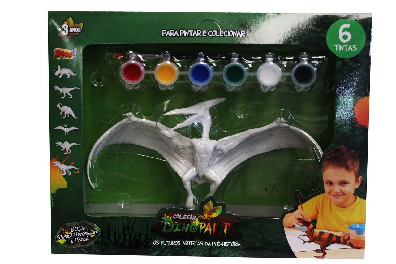 Dinossauro Para Colorir Pintar Infantil Dino Paint Menino Menina Várias Cores Estimula Criatividade Tinta Pincel Original