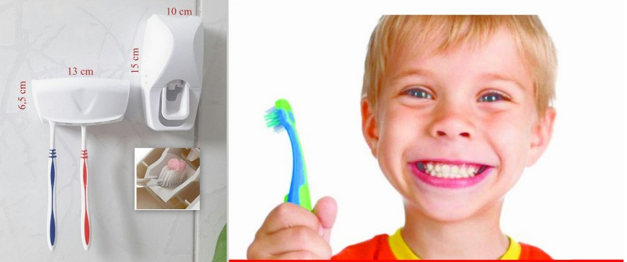 Dispenser Automático Pasta De Dente Suporte De Escovas Branco