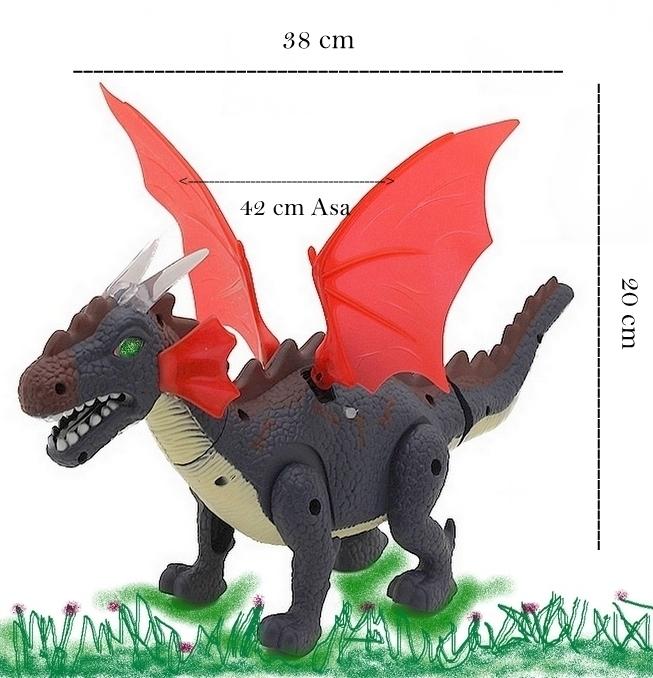 Dragão Dinossauro Asas Vermelhas Eletrônico Anda Acende Luz, Emite Som