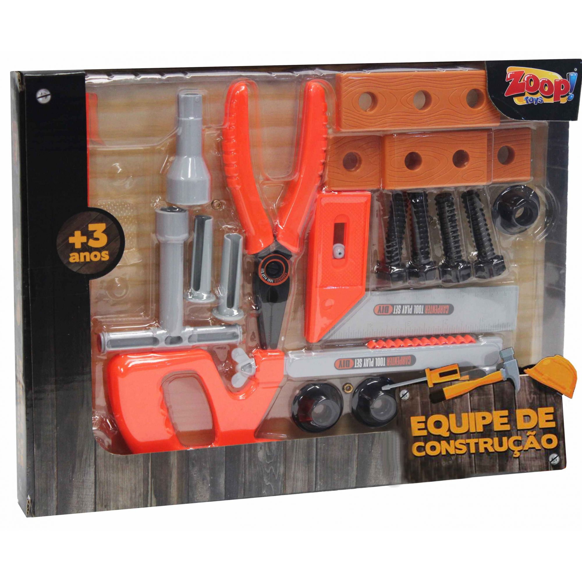 Equipe De Construção Ferramentas Serrote Alicate Plástico Infantil Menino + 3 Anos Coral Zoop Toys Original Modelo ZP00407