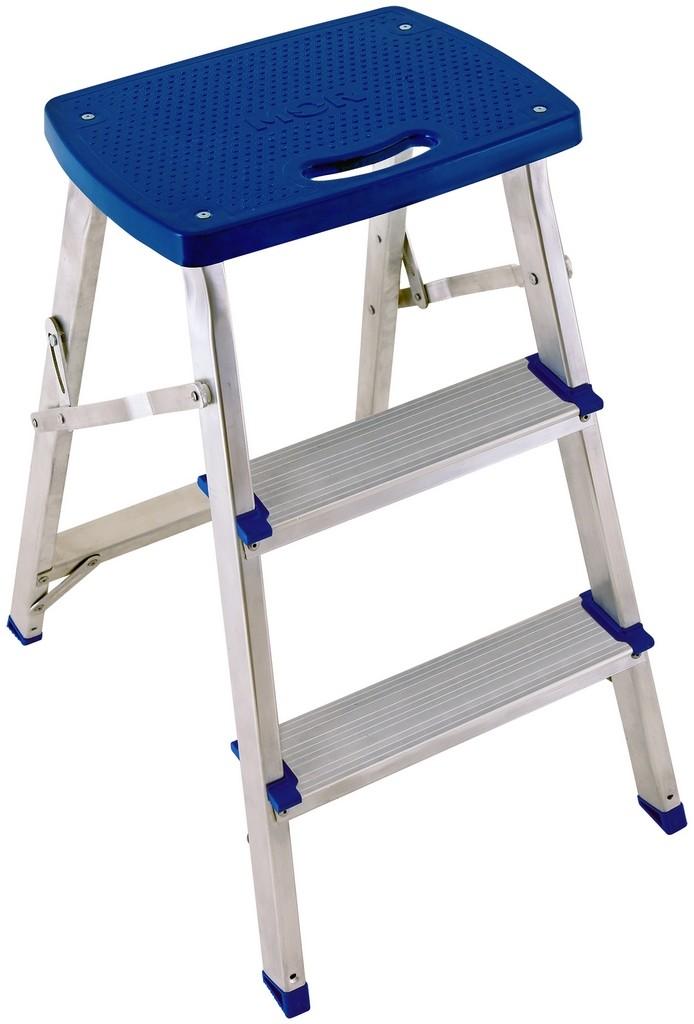 Escada Banqueta Banquinho Dobrável 3 Degraus Alumínio Suporta 120 Kg Doméstica Leve Prática Azul Mor