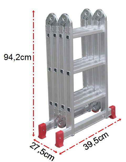 Escada Em Alumínio Dobrável Articulada 4x3 Multifuncional Botafogo