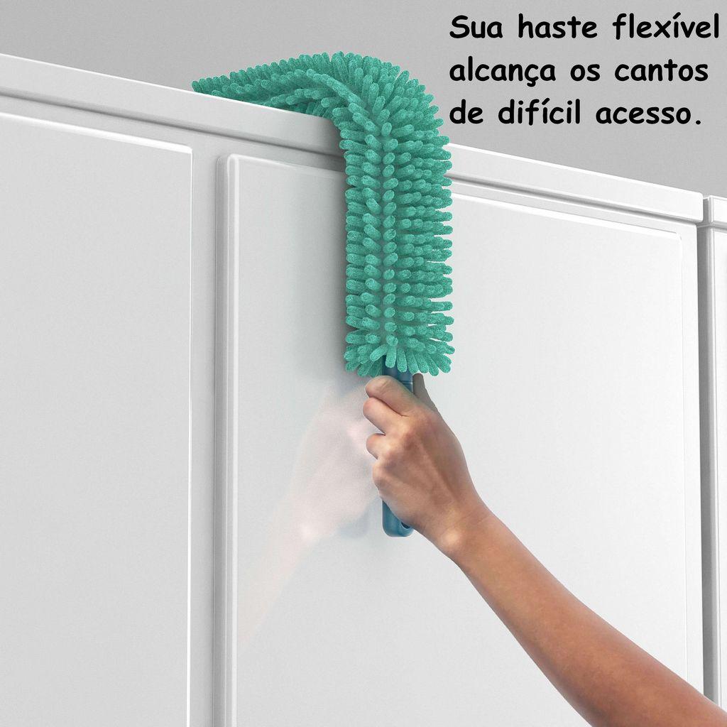 Espanador de Po Eletrostático Microfibra Seco Molhado Limpeza Casa Não Espalha Poeira Cabo Flexível Articulado 59 Cm Lavável Verde Chenile Flashlimp
