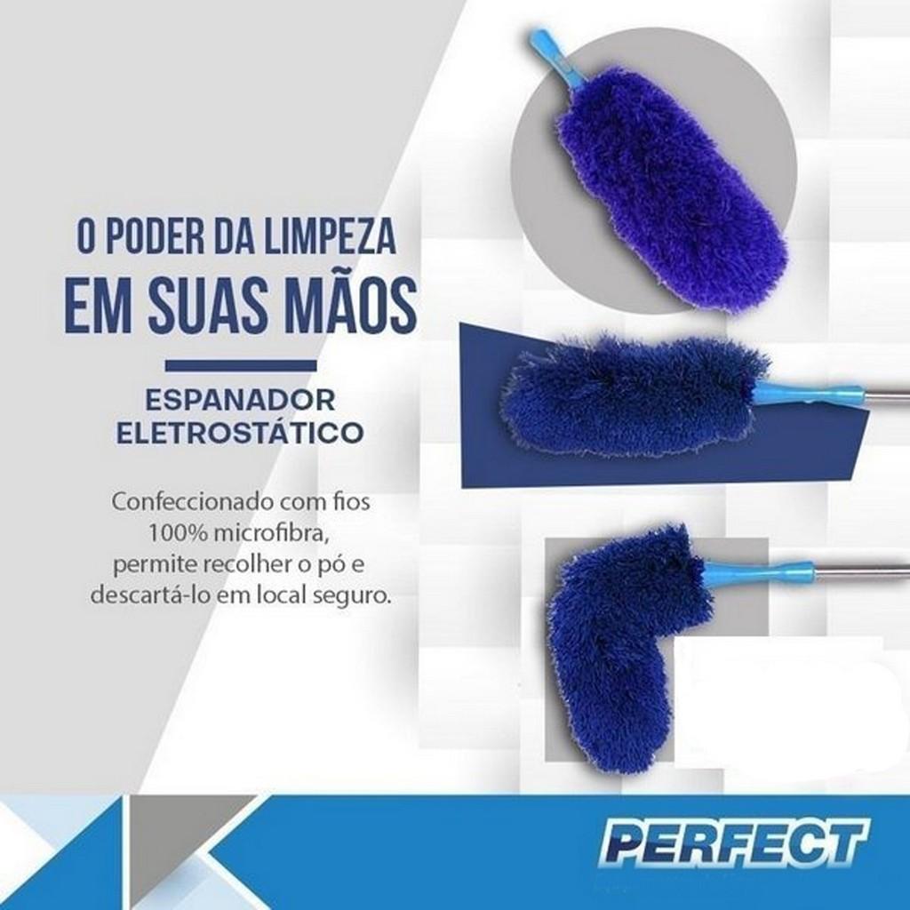 Espanador Eletrostático Dobrável Perfect Azul Limpeza a Seca Azul Casa