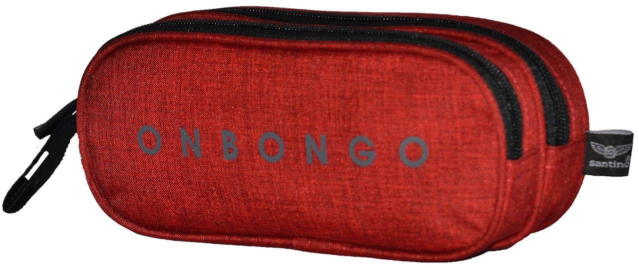 Estojo Duplo Onbongo Escolar Masculino Vermelho Resistente Poliéster Original Santino