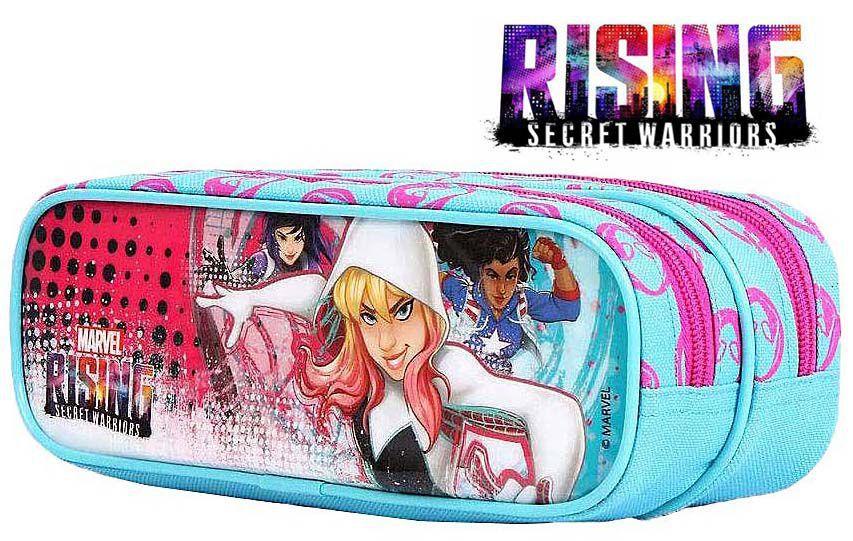 Estojo Escolar Infantil Rising Meninas Azul Rosa 2 Divisórias  DMW