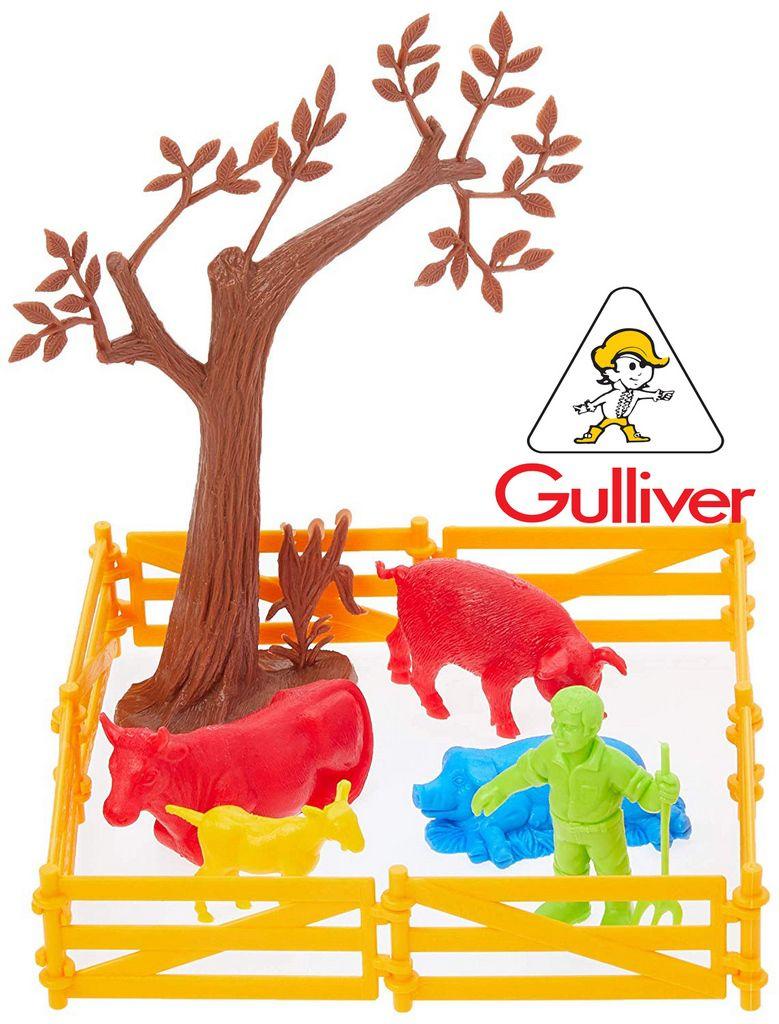 Fazendinha Gulliver Activity Cenário Peças Animais Árvore 10 Figuras Curral Resistente Plástico Atóxico Original Maiores 3 Anos