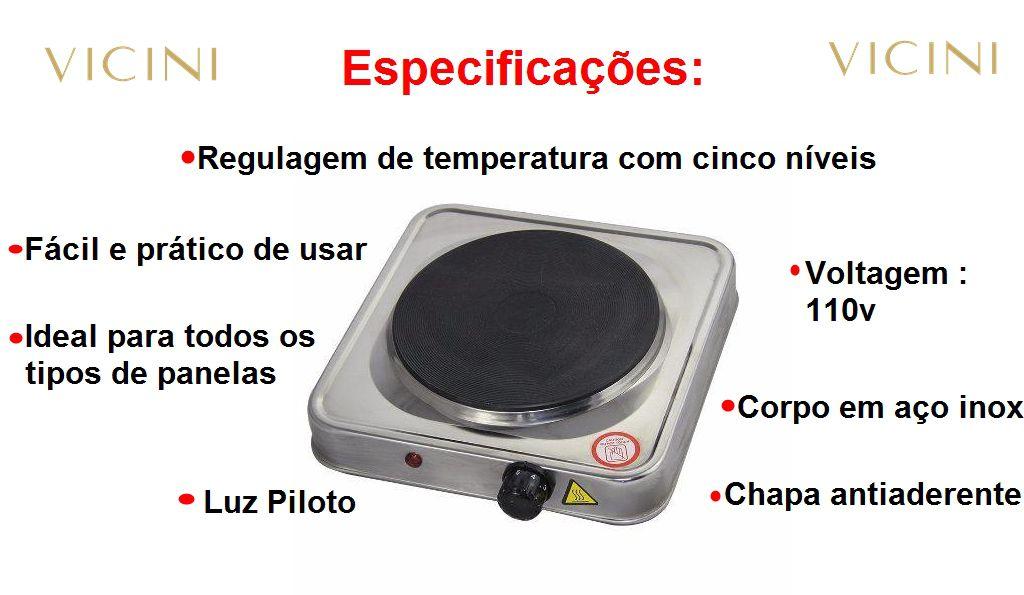 Fogão Elétrico 1 Uma Boca Inox 5 Níveis Vicini EPV-856  110v