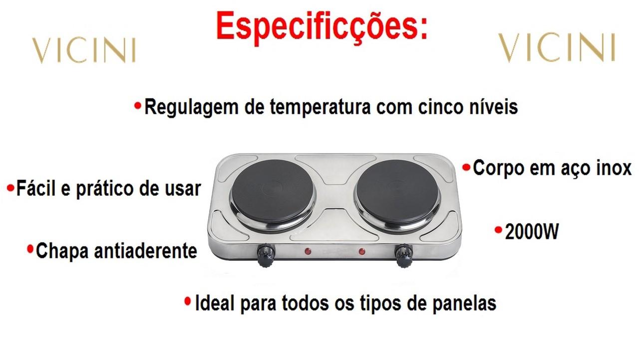 Fogareiro Fogão Elétrico 2 Bocas De Mesa Inox 5 Níveis Casa Camping Vicini EPV-857 110v