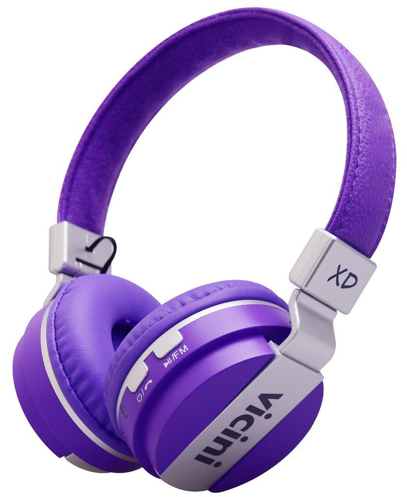 Headphone Bluetooth Fone de Ouvido Roxo Cartão SD Sem Fio Rádio Macio VC71L Vicini