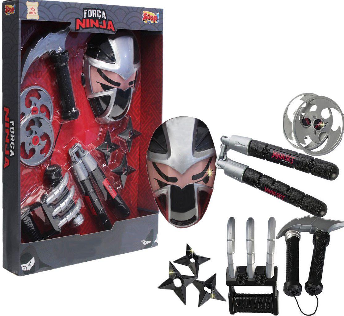 Força Ninja Fantasia Menino Garras Máscara Sharingan Tchaco Estrelinha Acessórios Modelo ZP00534 Original Zoop Toys