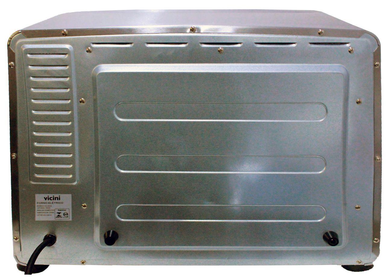 Forno Elétrico 38 Litros De Bancada Multifuncional Timer 1500 Watts 110 Volts Aço Escovado Preto Vicini VCC 8038