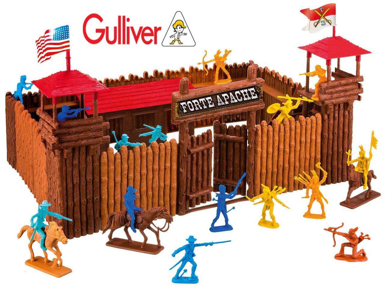 Forte Apache Batalha Júnior 34 Peças Maleta Brinquedo Infantil Menino Para Montar Figuras Coloridas Soldados Índios Cavalo Gulliver Original