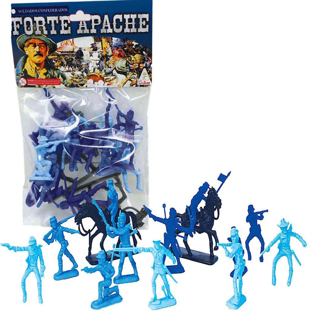 Forte Apache Far West Confederados 12 Figuras 2 Cavalos Infantil Crianças Azul Verde Marrom Brinquedo Índio Colorido Pequeno Resistente Original Gulliver  Activity