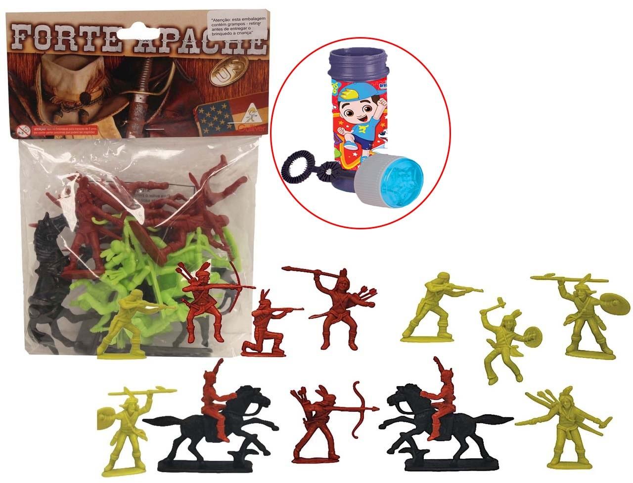 Forte Apache Far West Confederados 12 Figuras 2 Cavalos Infantil Crianças Azul Verde Marrom Brinquedo Índio Colorido Pequeno Bolhas De Sabão Gulliver Activity