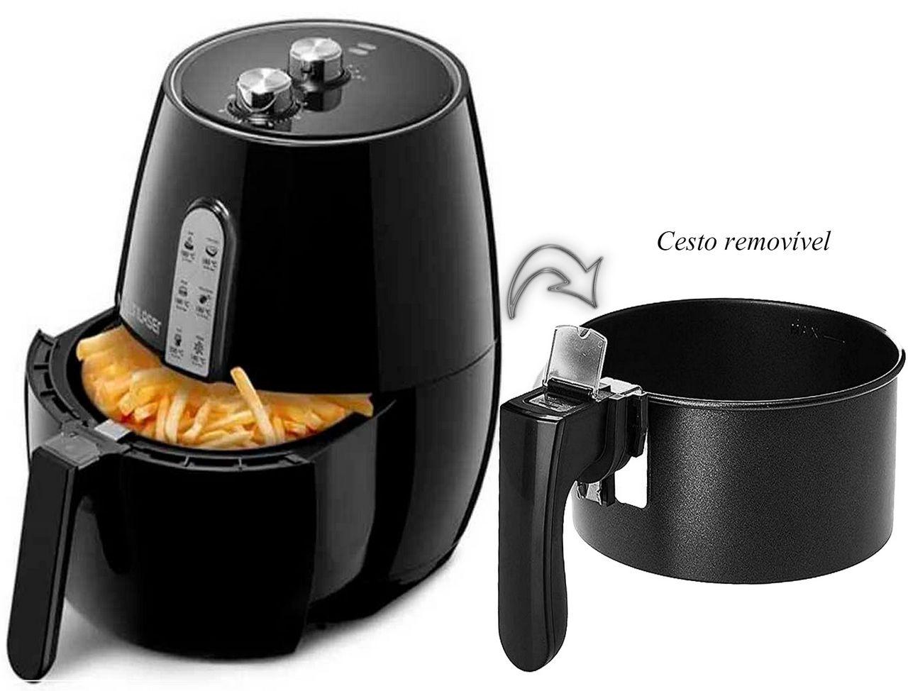 Fritadeira Elétrica Air Fryer Gourmet 127V-1400W Multilaser 3,5 Litros Frita Sem Óleo Com Cesto Removível Timer 30 Minutos Multilaser