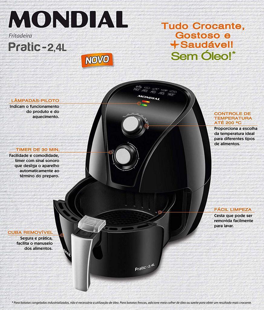 Fritadeira Elétrica Sem Óleo Airfryer Antiaderente  2,4 Litros Pratic Black 1270 Watts 127 Volts Designer Moderno 200° Timer Mondial Original