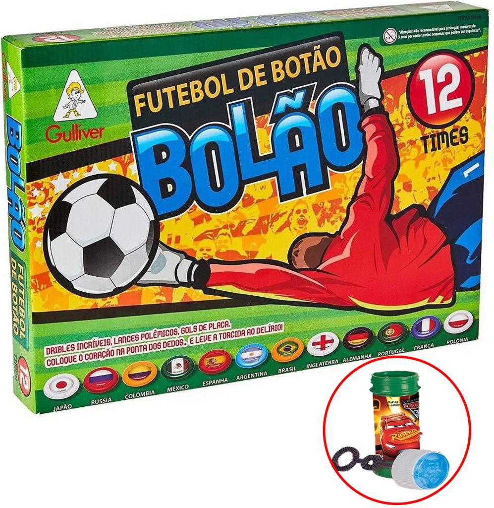 Futebol De Botão Bolão 12 Times Seleções Jogo Infantil Menino Bolhas De Sabão Gulliver