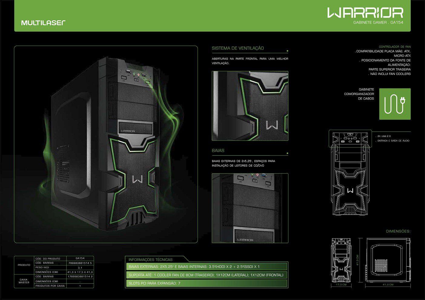 Gabinete PC Gamer Warrior Preto e Verde Grande Multilaser Ga154