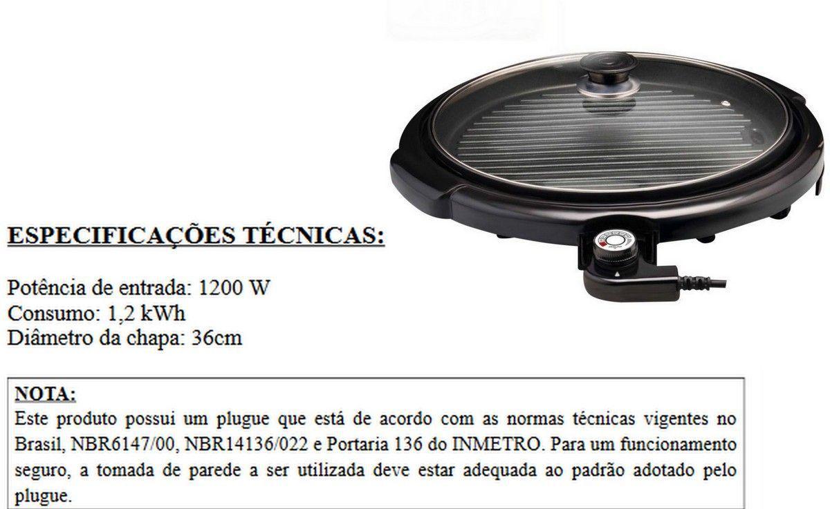 Panela Grill Redondo Anti Aderente Maxi 110V  Tampa De Vidro Vicini -EPV 859