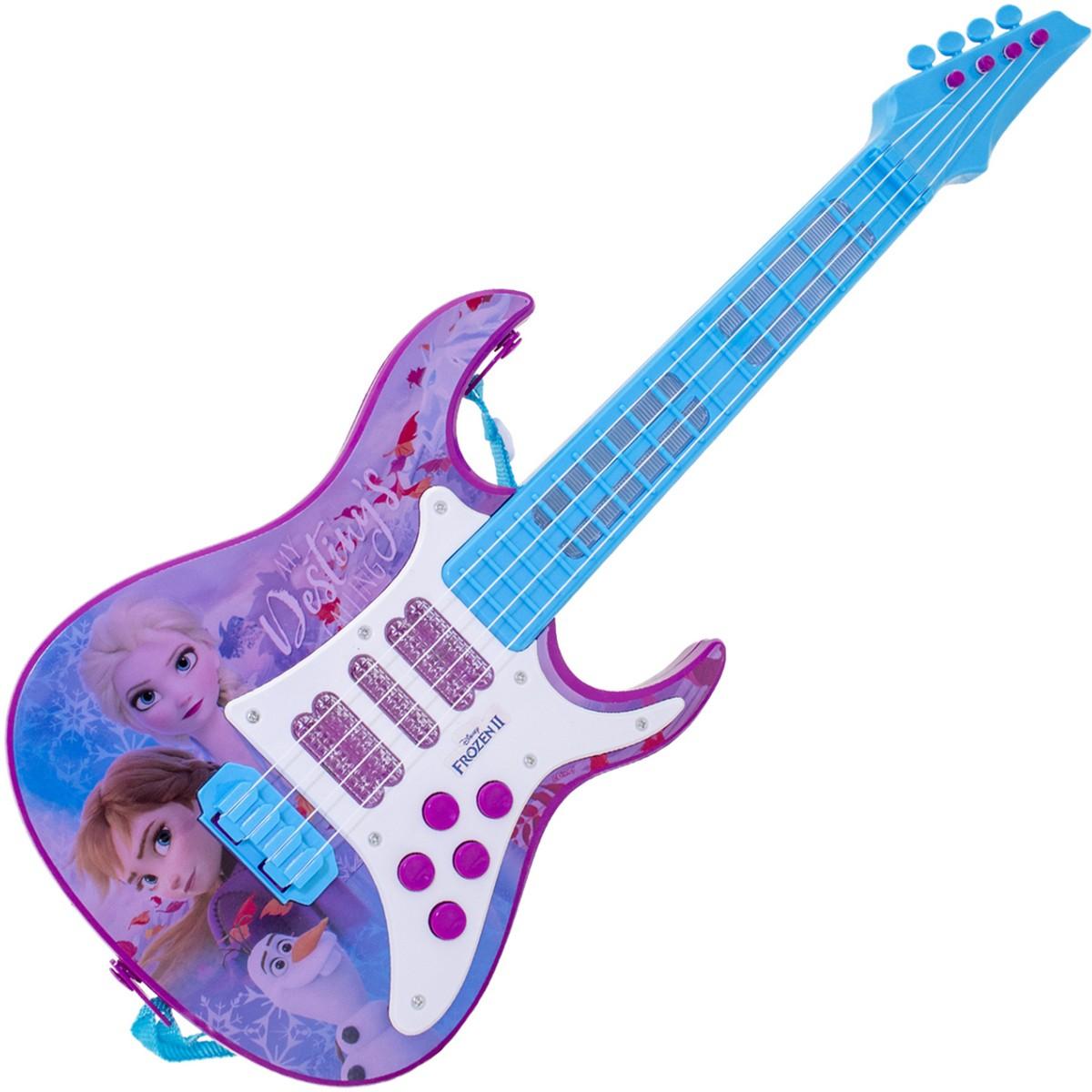 Guitarra Elétrica Infantil Musical Criativa Frozen 2 Portátil Variação De Luz Efeitos Sonoros Cordas Em Nylon Toyng