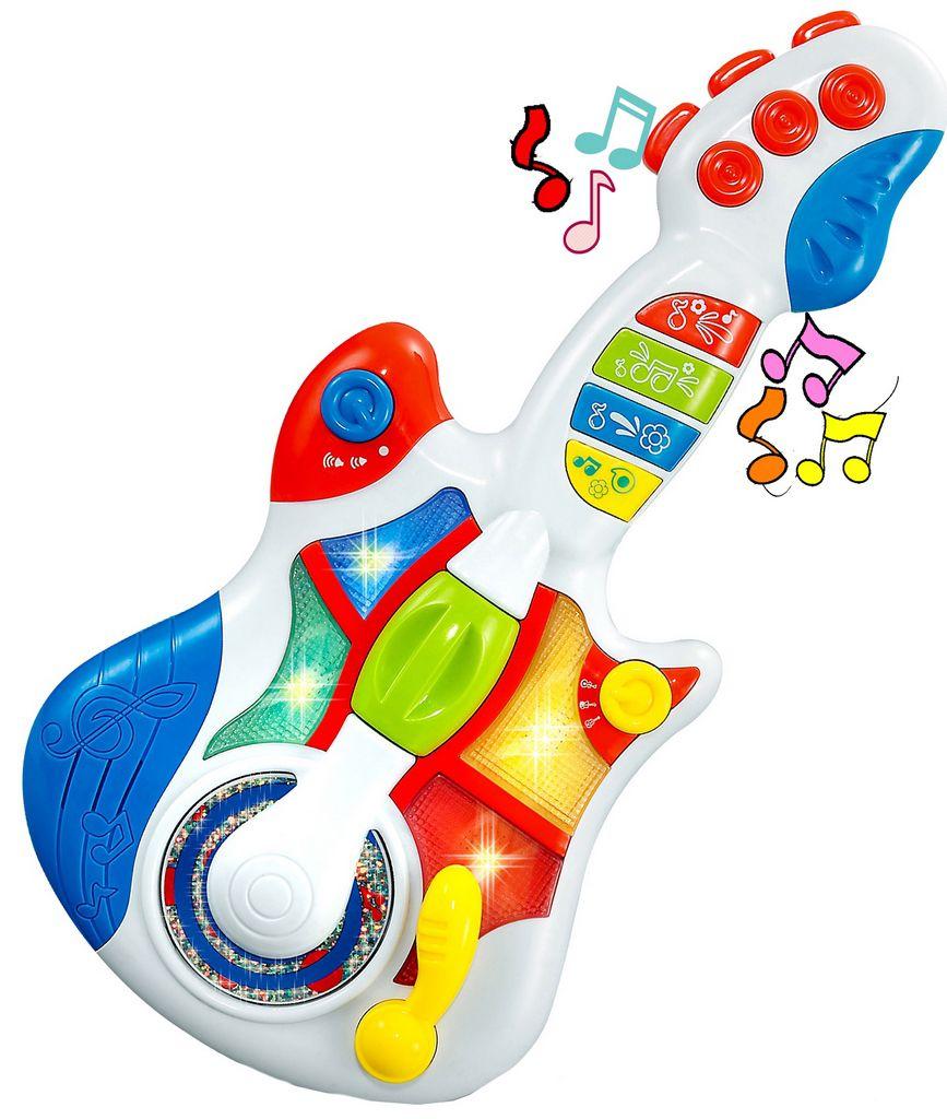 Guitarra Eletrônica Infantil Musical Bebê Criança Menino Menina Sons Pisca Luzes Brilha Modelo ZP00047 Original Zoop Toys