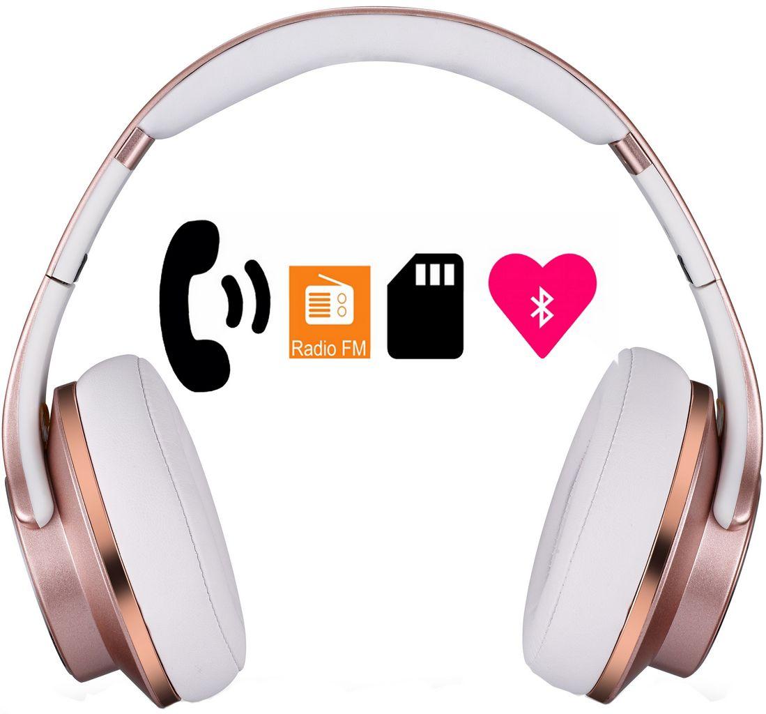 Headphone Bluetooth Duo Xtrax Rosé Gold Fone De Ouvido Caixa De Som 2em 1 Feminino Acolchoado Rádio Atende Ligação Original