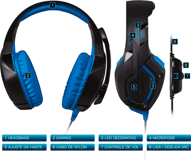 Headset Gamer Fone Usb Pc Ps4 Jogos Azul Warrior Stereo Com Led Barato Multilaser PH244
