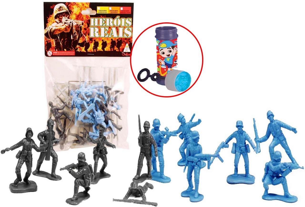 Heróis Reais Soldadinho Brinquedo Com 24 Figuras Cercados Ação Guerra Resistente Colorido Verde Laranja Cinza Bolhas De Sabão Gulliver Activity
